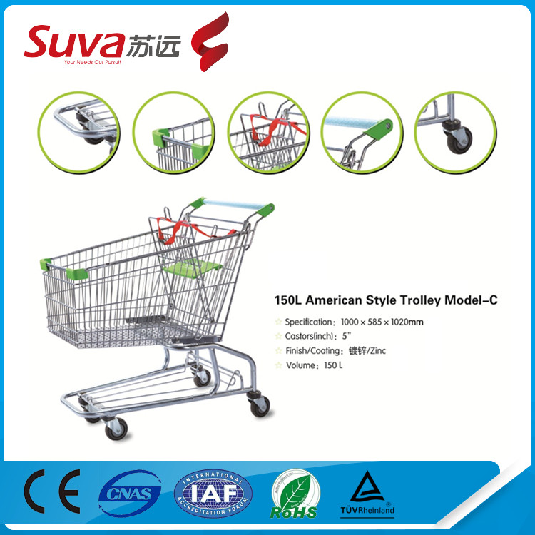 High quality supermarket shopping trolley/ big wheel shopping cart