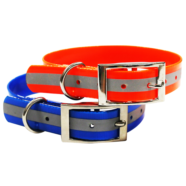 New Fashion Plastic Coated Webbing Dog Collars With Reflective Straps