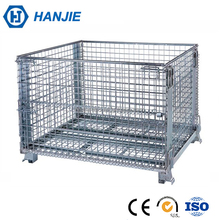 Folding stackable bulk wire mesh container for cargo storage