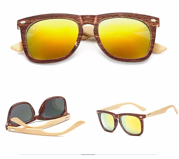 2019 new products wholesale polycarbonate with bamboo temple leg sunglass frame