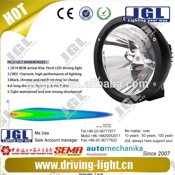 "JGL Unique Head lamp waterproof led works lamp 7"" 65w Single Work Light 12V 24V AUTO LIGHTING SYSTEM cree led work lamp"