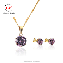 Chengfen jewelry Wholesale colored rhinestone jewelry set bisuteria jewelry set