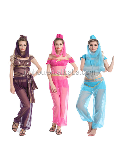 Jasmine Aladdin Princess Adult Costume Fancy Dress Arabian Belly Dance Fancy Dress