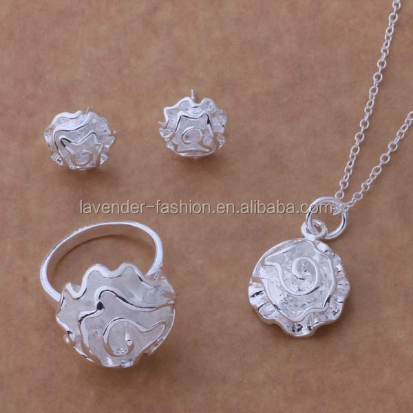 wholesale factory 925 sterling silver jewelry set rose silver necklace earrings ring set jewelry