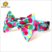 Blue pink yellow and green dots cat and dog bow tie collar set