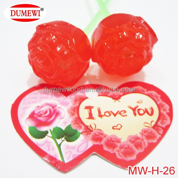 Valentine Day Gift Sweet Red Candy Rose Lollipop