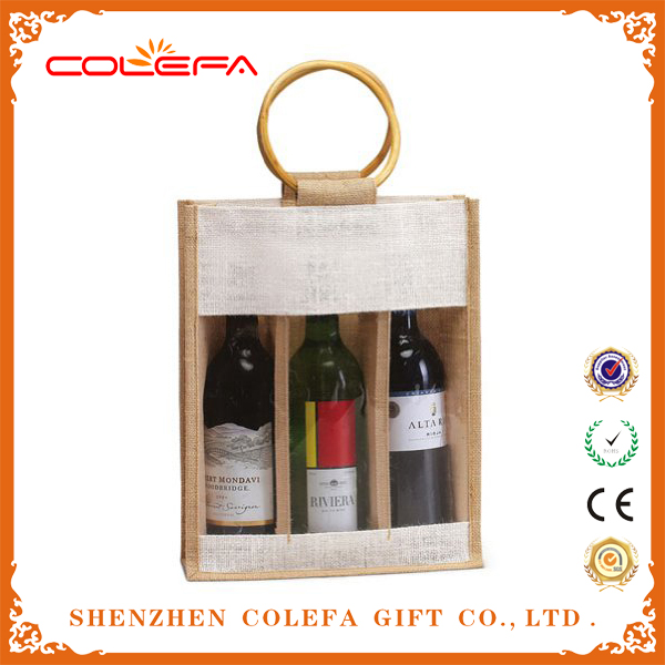 customized natural jute fiber 3 liter red wine bag with front window