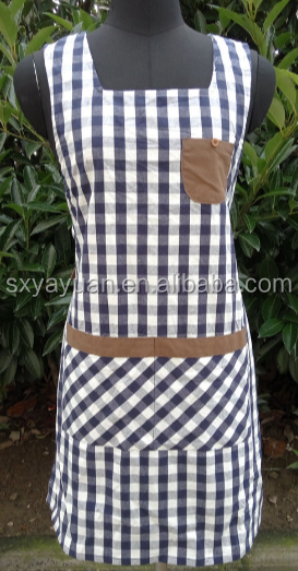 Cotton fine lattice sweet horse clip style skirt to increase thick high-grade canvas apron