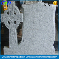 Light Grey G633 Granite Tombstone & Gravestone With Cross Shape
