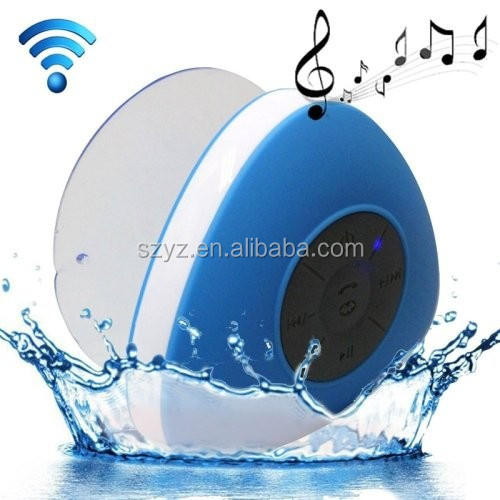 Triangle Waterproof Shower Stereo Bluetooth Speaker Blue Works with All Bluetooth Enabled Devices