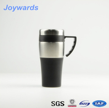 easy handle 450ml partial stainless steel plastic double wall mug with lid