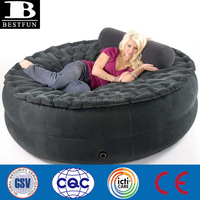 high strength flocking PVC inflatable round air bed folding smart air sofa portable indoor or outdoor flocked inflatable chair
