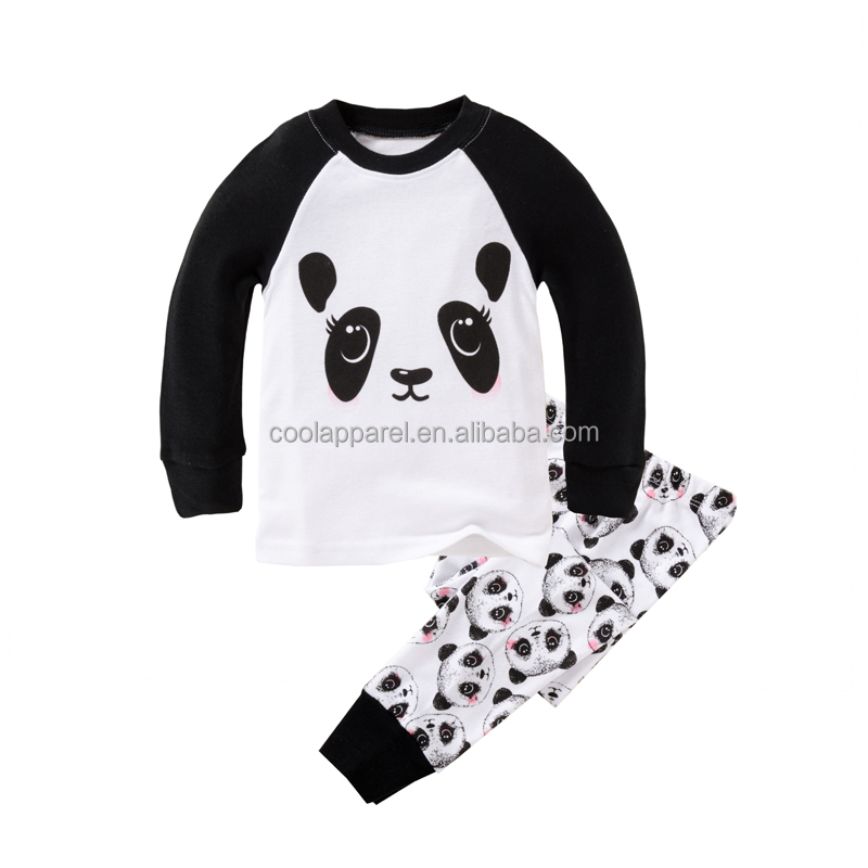 long sleeve cheap wholesale cute baby boys popular funny panda pajamas