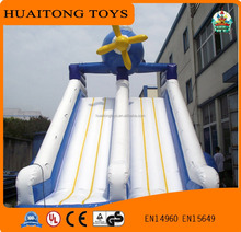 Factory direct sale blue and white color matching double gaint inflatable slide for kids and adults