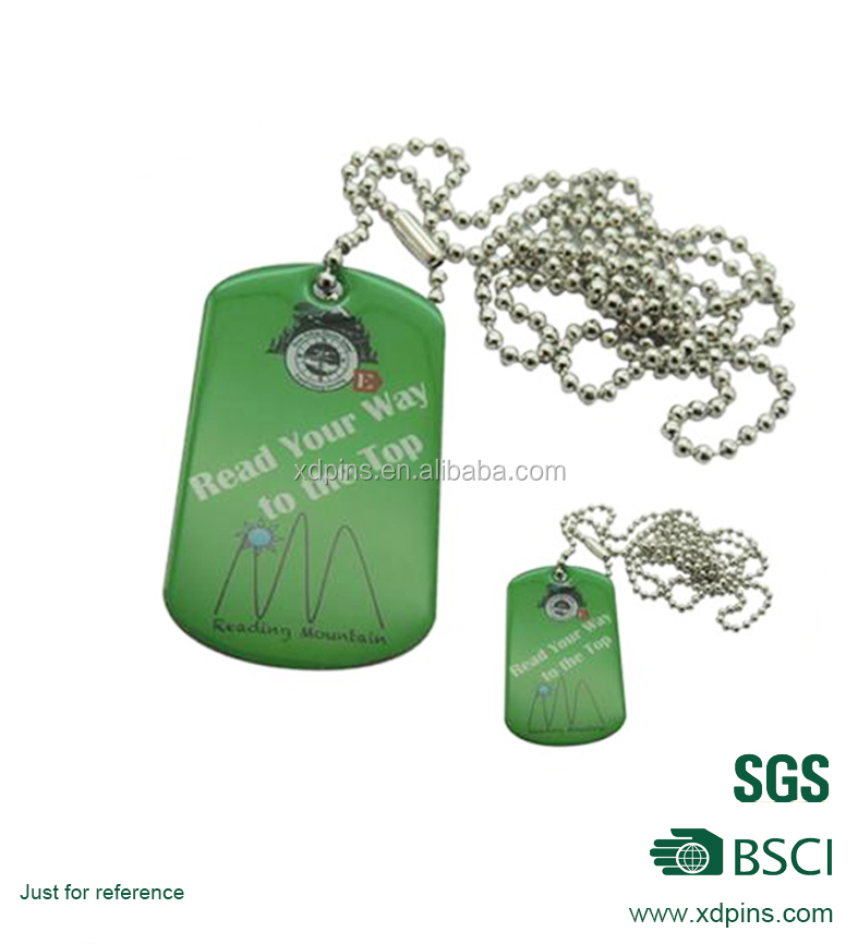 Green color dog tag for pet dog tags