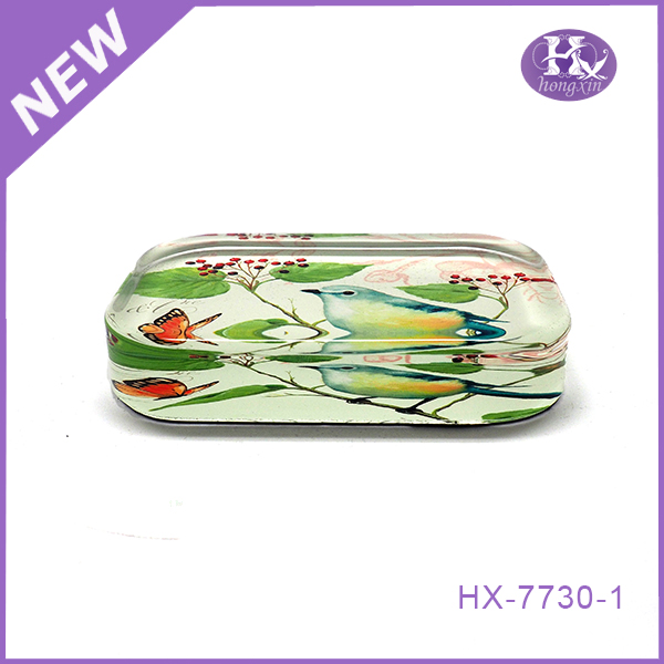 HX-7730 Round butterfly clear glass blown paper weight