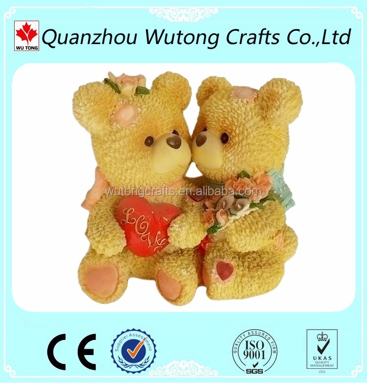 Polyresin Material Lovers Bear Figurines for wedding Cake Topper