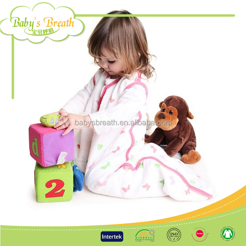 BSB1153 cotton baby muslin sleeping bag, customized muslin cotton sleepingbag manufacturer