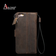 Vintage genuine leather phone case with lanyard for iphone 6 plus