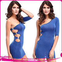 wholesale one shoulder blue bodycon dresses amazon