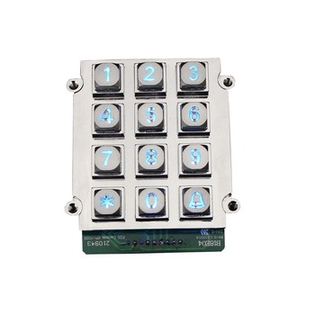 4x3 zinc alloy vandalism proof high quality waterproof access control keypad