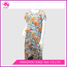 2017 Hot Sale Ladies' Fashion Polyester Chiffon Flowery Printed Casual Wear Cap Sleeve Maxi Dress