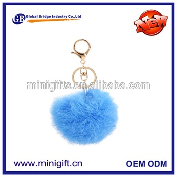 Newest style custom made multicolor chunky plush ball pom pom monster fur keychain