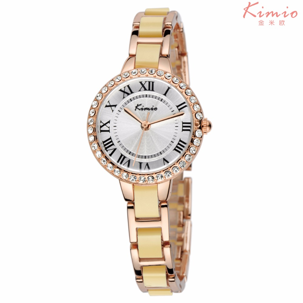 KIMIO KW506S Luxury Brand Colorful Ladies Diamond Hand Watches