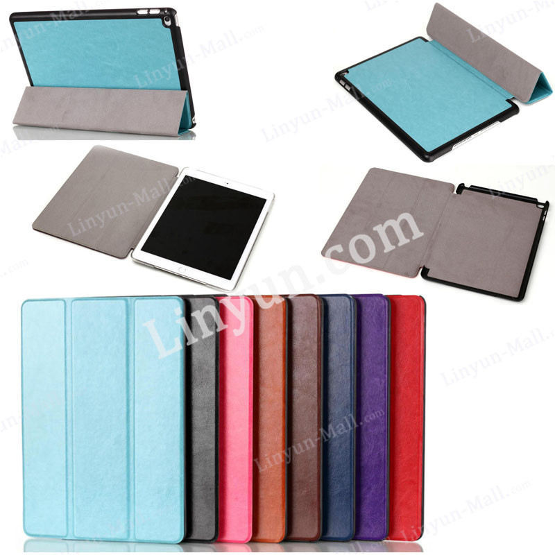 high quality Crazy horse pattern Tri-folding leather flip case for iPad air 2, for ipad air2 tablet cover