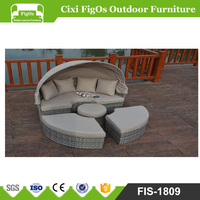 HOUSTON 4-piece Outdoor Daybed Sectional Set Round Retractable Canopy Rattan Wicker Furniture Sofa