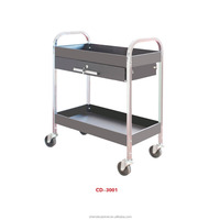 professional two-layer and four-wheel tool trolley with drawer, grey