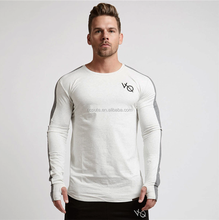 Wholesale new men long sleeved t shirt cotton raglan sleeve gyms Fitness workout clothing male Casual tees tops