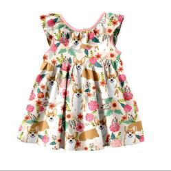 Latest Frock Designs Wholesale Girls Party Dress Short Sleeve Princess girls Dogs Print Dresses Children's Party Dresses