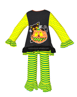 Striped long sleeve girls casual sets child wear outfits apparel halloween baby girl chevron top and pants sets