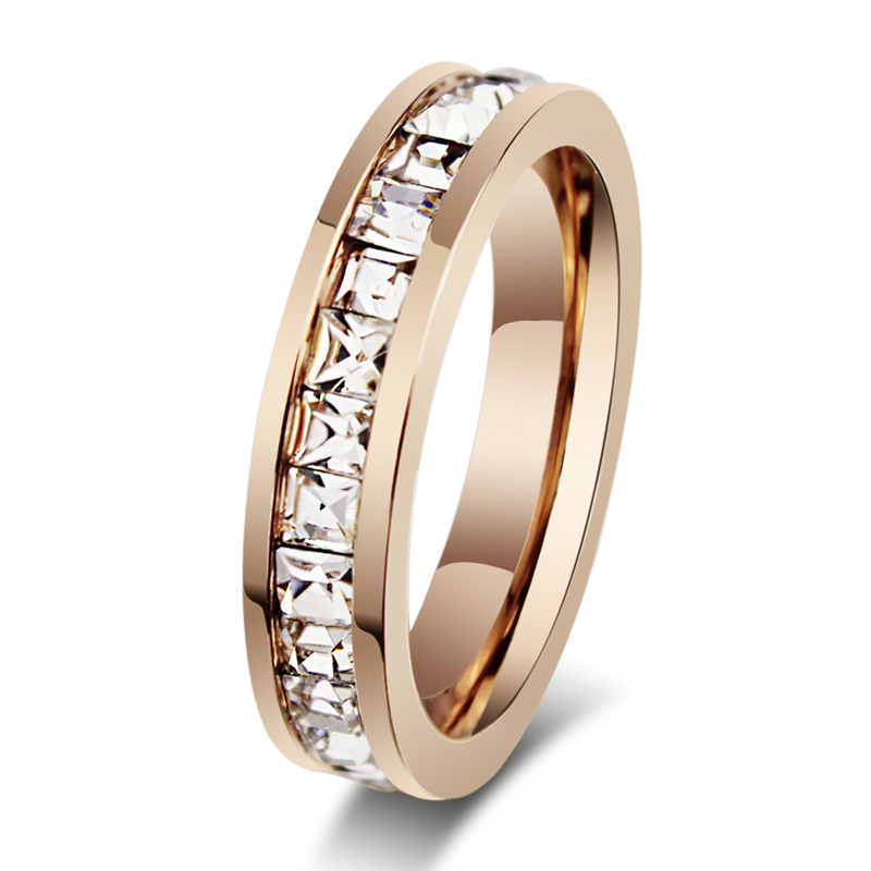 Wholesale fashion new design diamond titanium stainless steel wedding ring cz for women with AAA cubic zircon