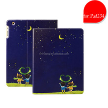 waterproof full page color printing stand pu leather case for ipad 2 3 4 with custom design