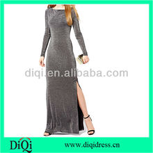 long sleeve women maxi dress with one side open
