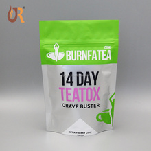 Heat seal custom printed plastic empty green coffee tea bag