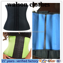 2015 new Women Latex Sport Waist Cincher Trainer Rubber Steel Boned Corset Shapewear