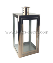 Large square copper stainless steel candle holder lantern