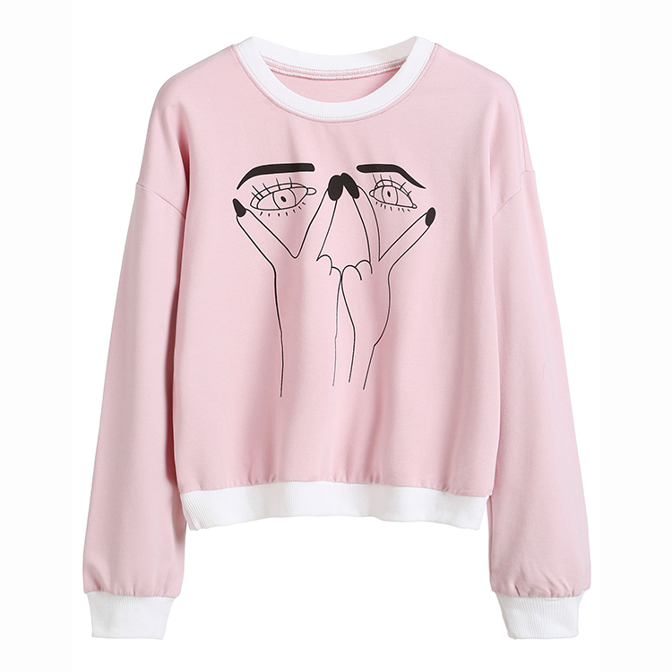 custom wholesale crewneck sweatshirt fashion sweet pink hoodies without hood