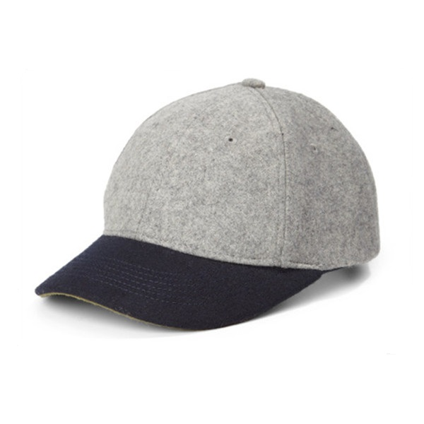 Custom grey wool no logo baseball cap with leather brim baseball cap
