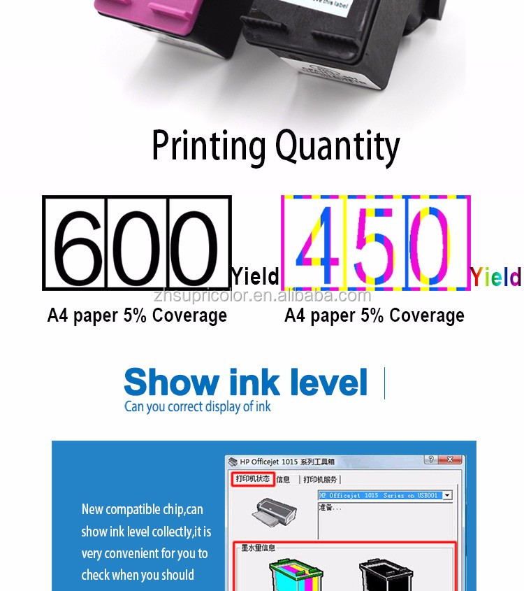 Supricolor Printer compatible for hp 802 replacement ink cartridge