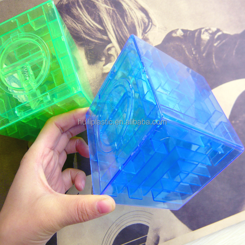 transparent square maze money box, clear maze plastic square piggy bank, maze square shape coin bank for kids