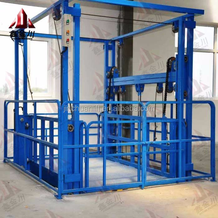 vertical lead rail lift platform / vertical guide rail goods lift