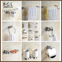 Vintage Elegant Zinc alloy and crystal Polished Chrome Wall mounted bathroom accessory sets