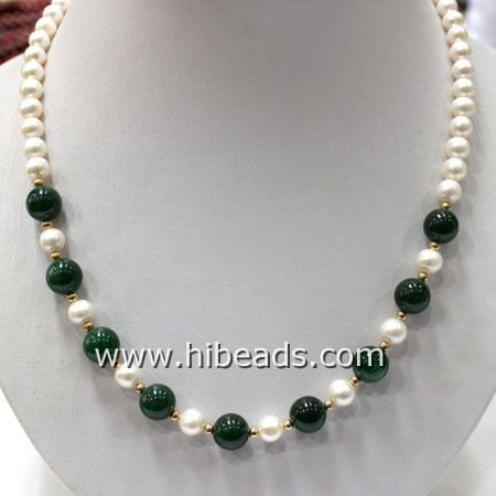 7-8mm pearls and 12mm jade/freshwater pearls necklace with gold plated clasp FPN0125