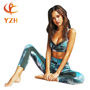 2018 new design yoga wear set women sport set ladies fitness set