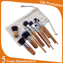 Best Selling OEM 10pcs Bamboo Make Up Private label cosmetic brush foundation Makeup Brush Set With Draw String Bag for makeup
