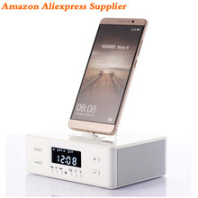 Best Selling Product 2017 Hotel Protable Bluetooth Speaker Wireless Alarm Clock Docking Station Ibastek FM Radio Usb Charger D9